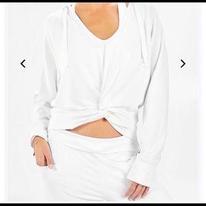 Fabletics white hot hoodie sweatshirt